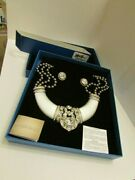 New Heidi Daus Signature Grey Beads White Resin Crystals Necklace And Earrings