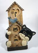 Resin Cat With Bird And Birdhouse 3-d Photo Frame, Holds 3 Small 1.75 Photo Area