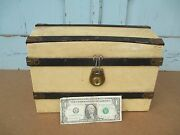 Vintage Doll Trunk - French Fashion Doll Dome Top Miniature Steamer Trunk Old