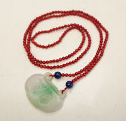 Jade Jadeite Ruyi Pendant Bright Apple Green And White, Red Beaded Necklace