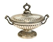 Charles-auguste Peret French Sterling Silver Footed Sauce Dish With Lid C1860