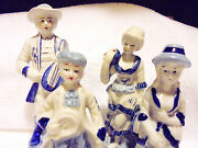 Vintage Blue And White Gentleman And Lady Victorian Figurines...2 Sets......b-55