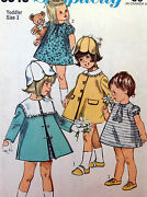 Vintage 6949 Adorable Toddler Girl Coat Hat And Dress Sewing Pattern Sz 1 - 1966