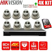 Hikvision 4k 8ch Poe Nvr 8mp Ds-2cd2385fwd-i 4tb Cable Cctv Security Camera Kit
