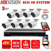 Hikvision 4k 8mp Cctv Security Camera Kit 8ch Poe Nvr Ds-2cd2085fwd-i 4tb Cable