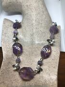 Hand Made Vintage Purple Genuine Amethyst Points Beads Choker Necklace