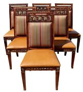 Vintage Henredon Dining Chairs W/ Leather Seats And Upholstered Backs Set Of Six