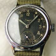 Wwii Period Menand039s Minerva For German Dh Military Wristwatch Good Condition