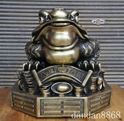 18chinese Fengshui Bronze Money Yuanbao 八卦纳财 Golden Frog Coin Toad Bufo Statue