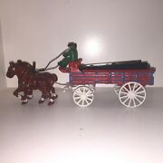 Vintage Cast Iron Horse Drawn Beer Wagon W Drivers Clydesdales 30 Barrels Stigma