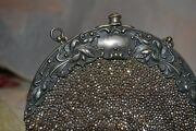 Purse W Chatalaine Clip1900 Silver Frame Round Steel Bead Leather Back 1099128