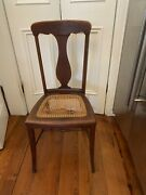 Antique Wood Chair With Caned Seat Needs Tlc Repair On The Cane