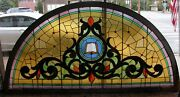Giant Half Round Yellow Victorian Stained Glass Window Architectural Salvage