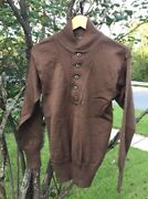 Vintage Us Army Military Wool High Neck 5 Button Brown Color Uniform Sweater.