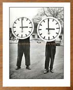 Vintage Workers Hold Giant Clock Faces Modernist - Mid-century Germany Rolex