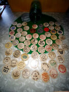 1950and039s Wooden Nickel Collection 60 Plus 2 Plastic And 2 Aluminum In A Ball Green