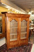 French Antique Light Pine Louis Philipe 2 Glass Door Bookcase / Display Cabinet