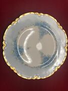 Antique Hand Painted Plate Blue Forget Me Not Gold Haviland France F. Means 1910