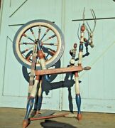Spinning Wheel Americana C1800and039s Folk Art Red White And Blue Centennial 1776 1876