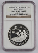 Cayman Islands 1982 Piefort Year Of Child 10 Silver Proof Coin Pf69 Ngc Km-p1