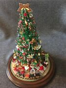 Holiday Decor Center Piece Christmas Tree With Glass Dome 12.5 Collectible