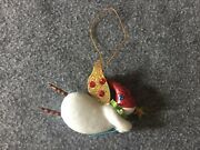 Ornament Snowman Flying Ceramic And Metal 4.75 Vintage Collectible