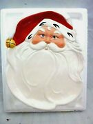 1986 Avon Christmas Jolly Santa Large Platter Holiday Event Party Service In Box