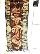 Museum Item Antique H/woven Knotted Textile Fabric Man W/ Crown Dragon Dinosaur