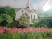 B. Testa Vermont Rural Country Church And Steeplewatercolormagnificent Craftsma