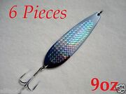6 Pieces Casting 9oz Crocodile Spoons Chrome/silver Saltwater Fishing Lures