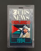 1994 Cbs News - Laminated Tag In The Palestinian Flag Colors - Plo Yasser Arafat