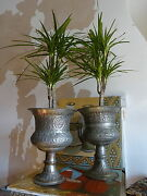 Superb Near Pair Middle Easternpersian Tinned Copper Pedestal Urns Planters