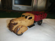 Wyandotte Rooster-comb Easter Stake-bed Truck Vintage Pressed Steel Toy 10