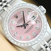 Ladies Rolex Datejust Pink Diamond Dial 18k White Gold And Stainless Steel Watch