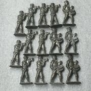 """Lot Of 14 Antique Pewter Toy Marching Band Army Brigade 2"""" Standing Figures Ar44"""