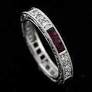 Vintage Style Engraved Diamond Ruby Eternity Band Ring 3.6mm Wide