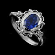 Oval Blue Sapphire Diamonds 14k White Gold Victorian Style Engagement Ring