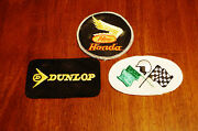 Antique Lot Of 3 Team Honda Racing Patch Motorcycle And Dunlop And Isle Of Man