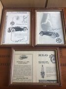 3 Antique Frames With Pictures Of Cars England