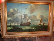 Hogue French War Ships In Choppy Seas Large Painting-=framed Well Done-wow