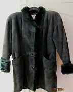 Ada Collections Leather Suede Faux Fur Above Knee Short Winter Coat Green S