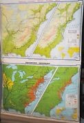 Denoyer-geppert Westward Movement 1763-1829 And Colonial Industies Map,ships Free