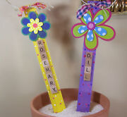 2 Herb Hand Made Painted 7 Scrabble Garden Markers Stakes Unique Gift Idea