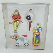 Glass Golf Mini Christmas Ornaments Department 56 Golf Themed Set Of 4 New