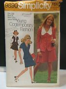Vintage 1970's Simplicity Sewing Pattern 9890 Two-piece Dress Size 11jp