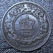 Old Canadian Coin 1864 Tall 6 -new Brunswick One Cent - Bronze - Victoria - Nice