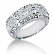 1.65 Carats Round And Baguette Cut Diamond Anniversary Band Ring 14k White Gold