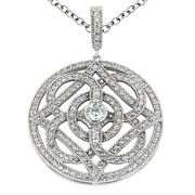 1.65 Carats Womenand039s Round Cut Diamond Pendant In 14k White Gold