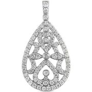 2.05 Carats Tw Womenand039s Round Cut Diamond Pendant In 14k White Gold