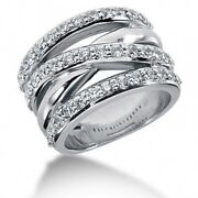 1.60 Carats Womenand039s Round Brilliant Cut Diamond Ring In 14k White Gold